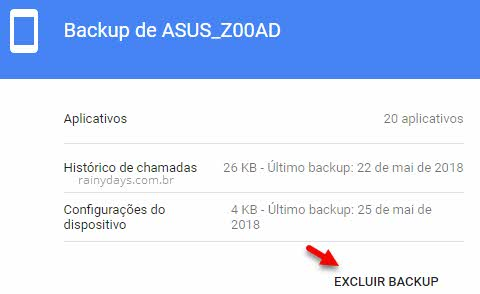 Excluir backup antigo do Android no Google