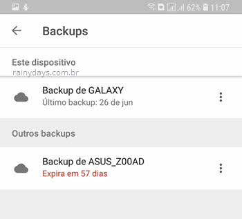 Excluir backups do Android pelo app Google Drive