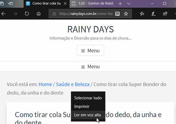 Ler em Voz Alta no Microsoft Edge para ler sites e livros