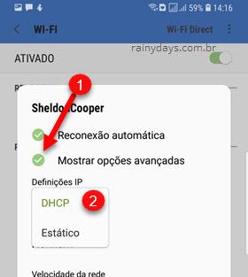 Mostrar opções avançadas DHCP rede wifi Android