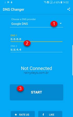 Mudar DNS dos dados móveis Android app DNS Changer