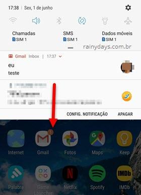 Puxar notificação do Android para baixo para expandir