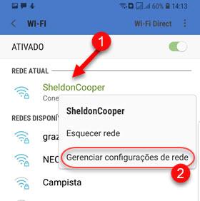 Toque e segure em cima da conexão WiFi Android gerenciar
