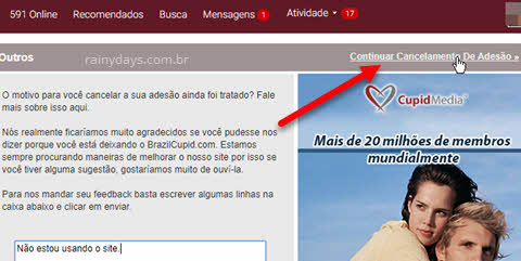 Como excluir conta do BrazilCupid e LatinAmericanCupid