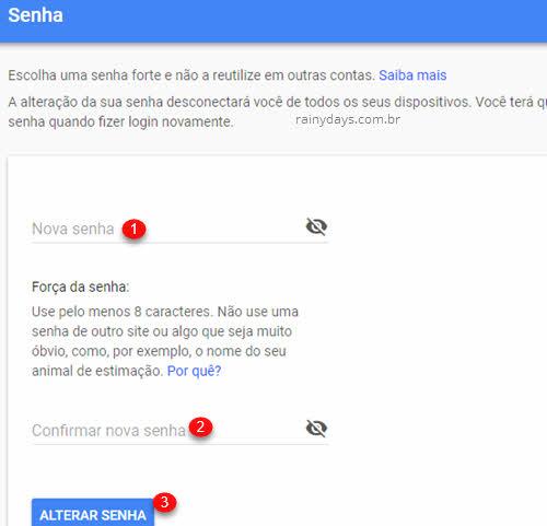 Como mudar a senha do Gmail Google pelo PC ou celular