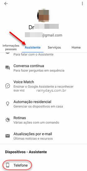 configurações Assistente Google dispositivos telefone