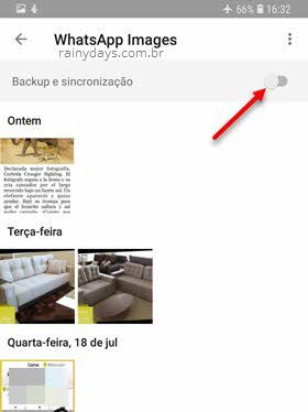 Desativar backup e sincronização do WhatsApp no Google Fotos