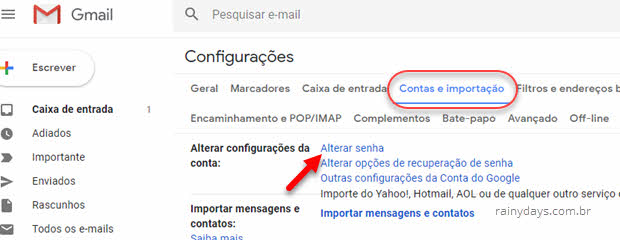 Gmail contas e importação ALterar senha