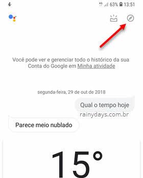 ícone da bússola Google Assistente Explorar