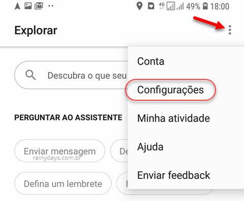 ícone três bolinhas configurações Google Assistente Android