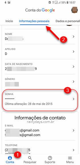 informações de conta Google app Gmail