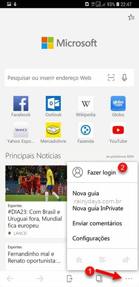 Login Microsoft Edge sincronizar dados do computador com Android iOS