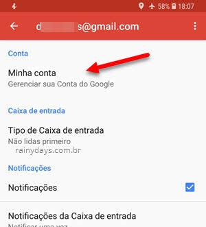 Minha Conta Gerenciar conta Google app Gmail