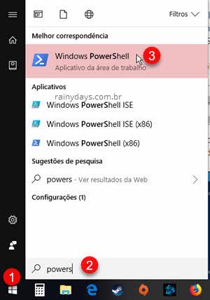 abrir Windows PowerShell botão iniciar