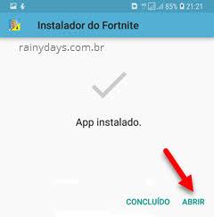 app Fortnite instalado Android abrir