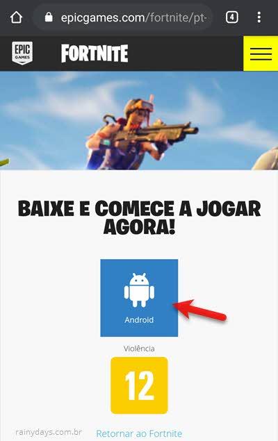 Baixar Fortnite no celular Android pelo site da Epic Games