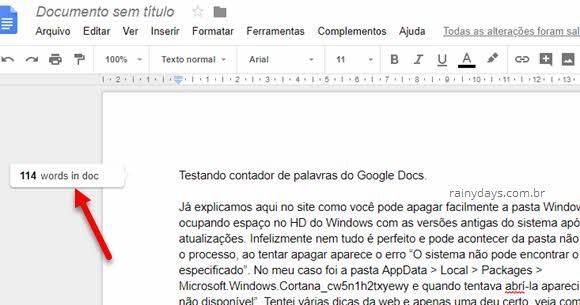 Contagem de palavras em tempo real no Google Docs