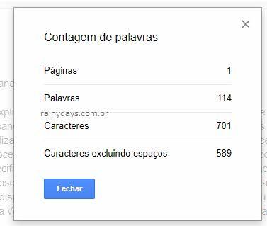 Contagem de palavras, páginas, caracteres do Google Docs