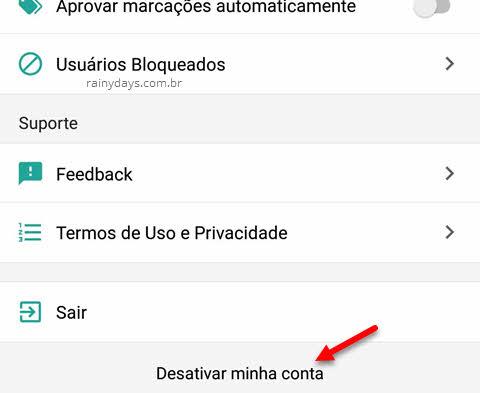 Excluir conta do app Status permanentemente