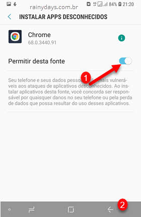 Instalar apps deconhecidos Chrome permitir desta fonte android
