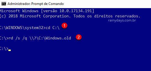 Prompt de comando apagar Windows.old bloqueada rd