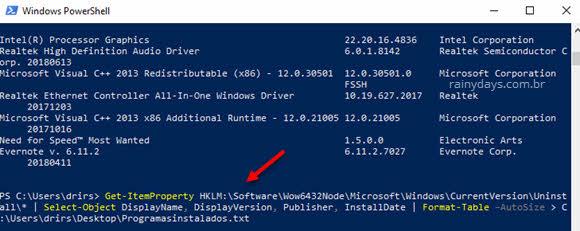 Salvar lista de programas do Windows na Área de Trabalho