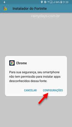 smartphone não tem permissão para instalar apps deconhecidos desta fonte Chrome Android