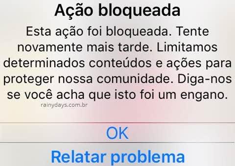 Janela de ação bloqueada no Instagram