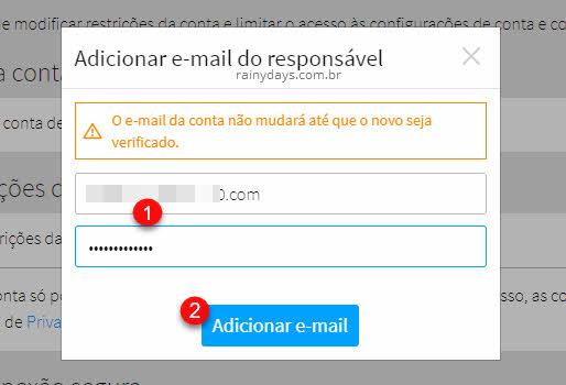 Janela para adicionar email do responsável Roblox