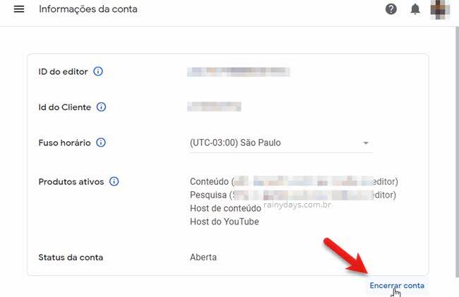 cancelar conta Google Adsense, encerrar permanente