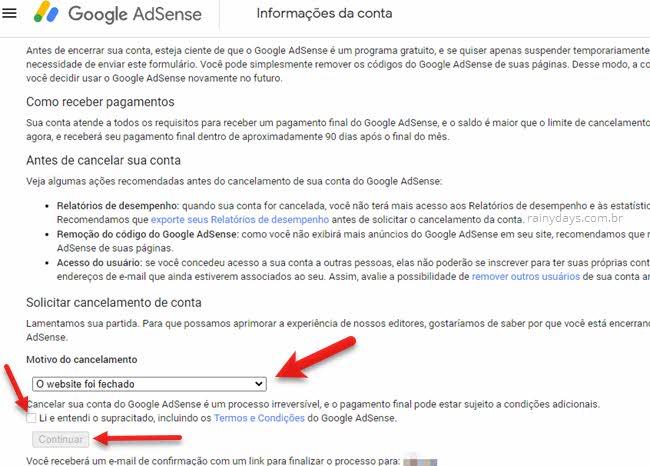 Como cancelar conta do Google Adsense