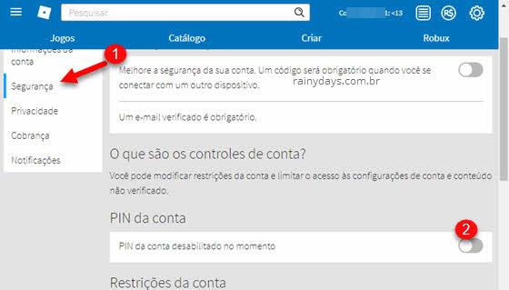 Página das configurações Roblox, entre em segurança, PIN da conta