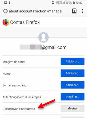 Dispositivos e aplicativos Contas Firefox