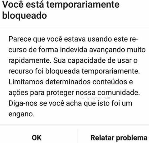 Janela avisando Instagram bloqueado temporariamente