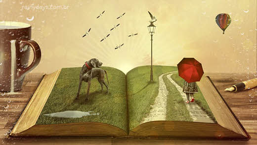 Menina andando no jardim feito de livro, como fala queda de luz em inglês