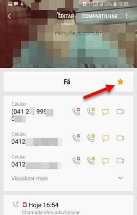 adicionar contato aos Favoritos Samsung