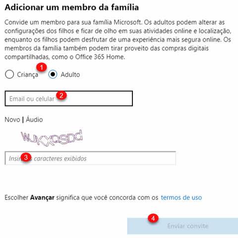 Adicionar um membro da família na conta Microsoft