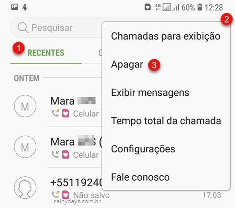 Toque ícone de três bolinhas, apagar registro de chamadas Samsung