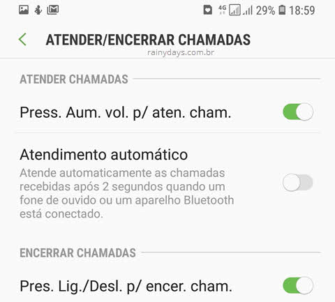 Atender e desligar chamadas com botões do Samsung volume power