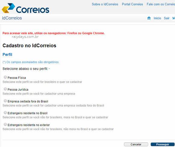 Escolher perfil, cadastro no idCorreios pagar despacho postal Correios