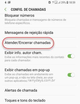configurações Atender/encerrar chamadas Samsung