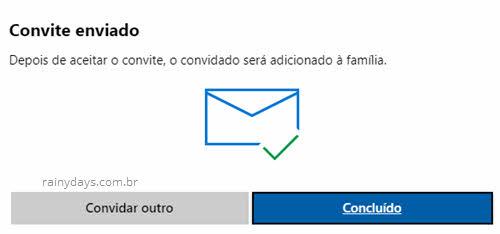 Clique em Concluído na janela convite enviado família conta Microsoft