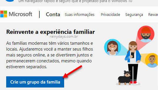 Botão Criar um grupo da família conta Microsoft