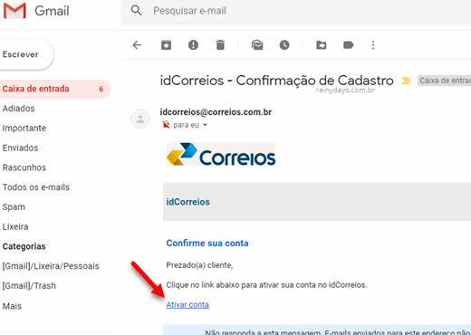 """Clique em """"Ativar conta"""" no email idCorreios confirmação de cadastro Correios"""