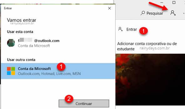 Clique no ícone do boneco e depois entrar com conta Microsoft na loja Windows