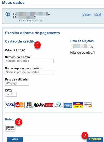 Forma de pagamento Correios despacho postal