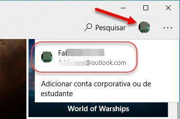 clique no ícone foto perfil Microsoft Store e depois no email