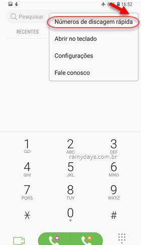 ícone três bolinhas Números de discagem rápida Samsung
