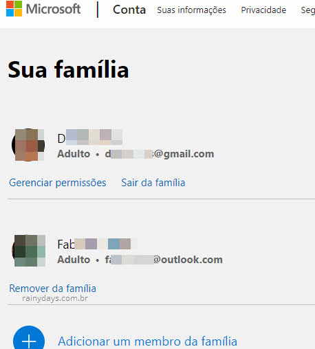 Membros da família na conta Microsoft