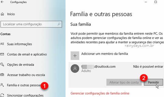 Permitir login Família e outros usuários Windows Microsoft